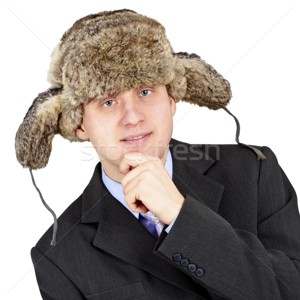 Man in a fur hat on white background Stock photo © pzaxe