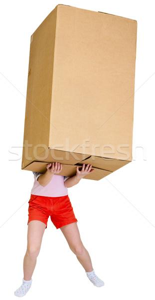 Girl holding very heavy brown cardboard box Stock photo © pzaxe