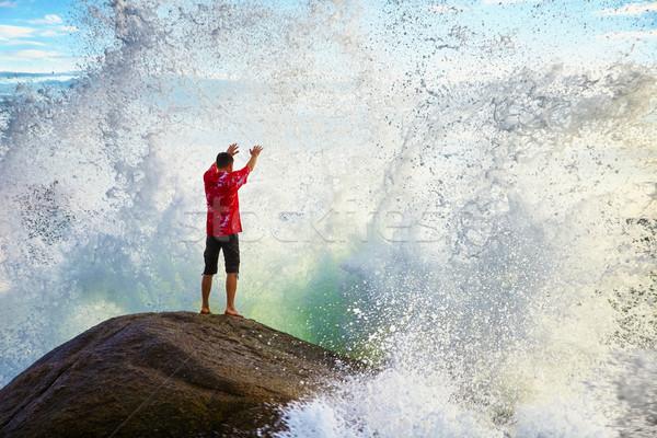 Stock fotó: Férfi · tenger · elemek · fiatalember · kéz · természet