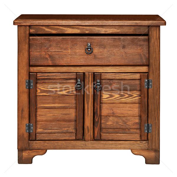 Vieux bois poitrine tiroirs isolé blanche Photo stock © pzaxe