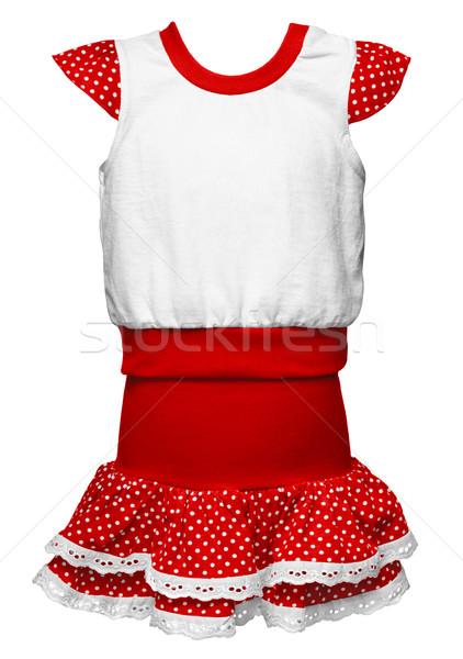 Kırmızı elbise lekeli kızlar yalıtılmış beyaz moda Stok fotoğraf © pzaxe