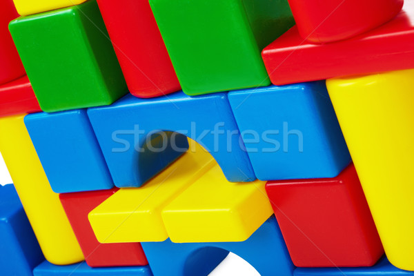 Wall of toy castle closeup Stock photo © pzaxe