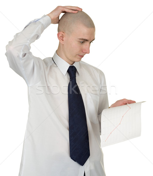 Perplexed guy with the financial graph in hands Stock photo © pzaxe