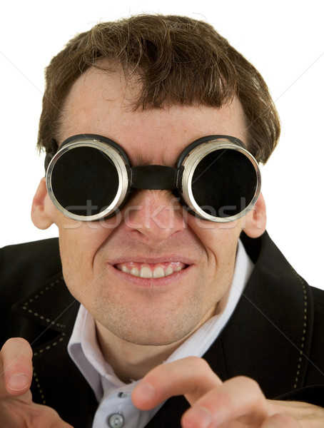 Funny man in welding goggles  Stock photo © pzaxe