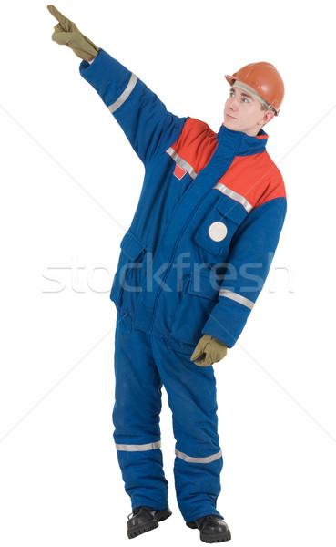 Man in overalls and helmet Stock photo © pzaxe
