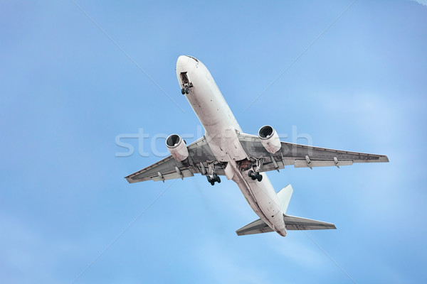 Passenger airplane on the sky background Stock photo © pzaxe