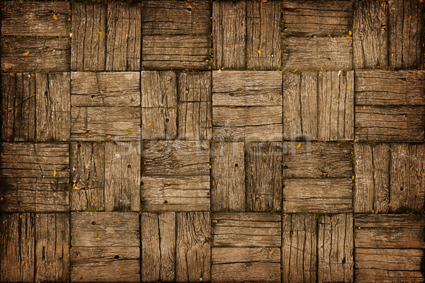 Weathered, Parquet Style, Wooden Decking Stock photo © pzaxe