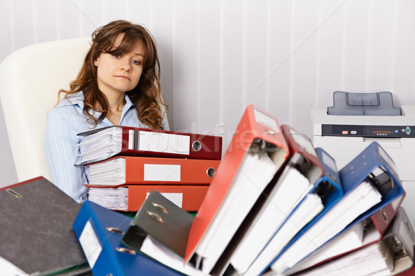 Tired accountant working overtime in office Stock photo © pzaxe