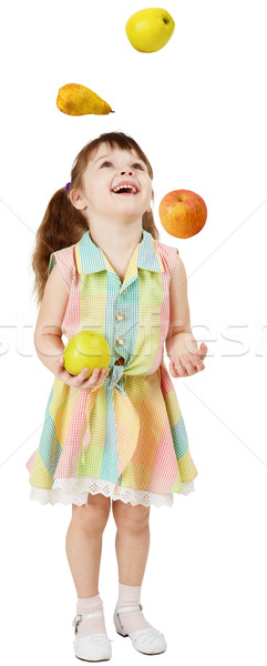 Little funny girl juggles fruit Stock photo © pzaxe
