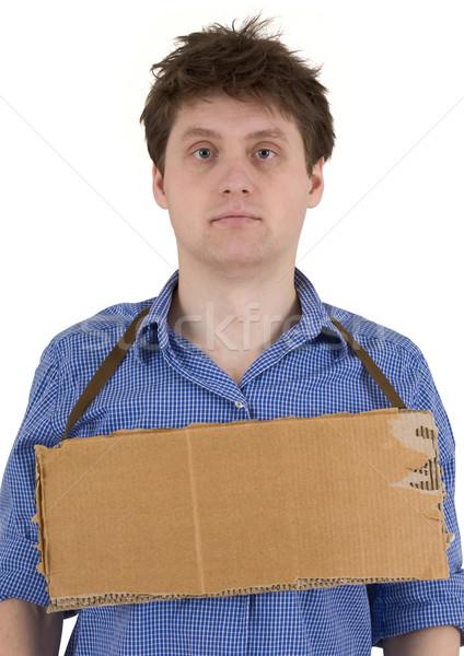 Homme carton comprimé blanche triste amusement Photo stock © pzaxe