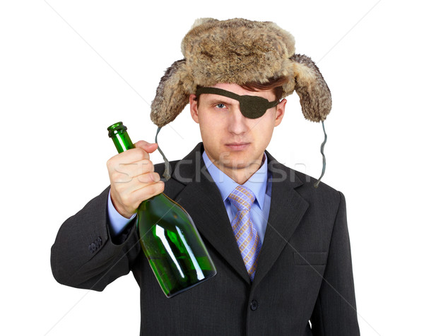 Russian business man in hat earflaps, offers to drink alcohol Stock photo © pzaxe