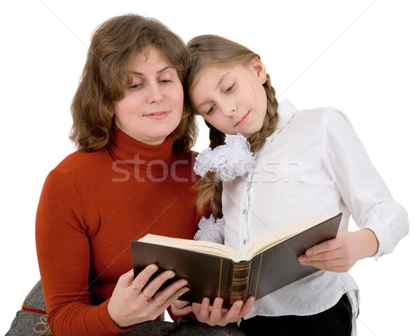 Kadın kız okuma kitap beyaz arka plan Stok fotoğraf © pzaxe