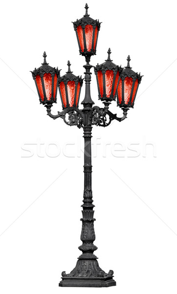 Old cast iron lamp post with red glass Stock photo © pzaxe