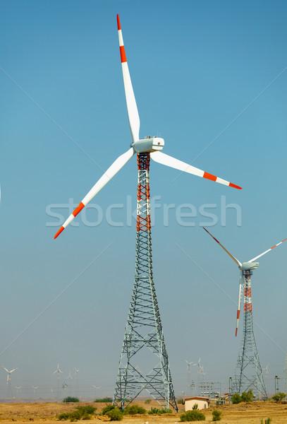 Wind power stations in desert. India, Jaisalmer Stock photo © pzaxe
