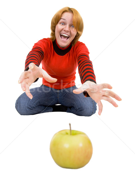 Woman stretch a hand to apple Stock photo © pzaxe