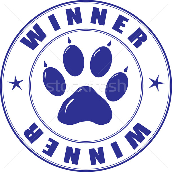 Stamp with paw and inscription - winner Stock photo © pzaxe