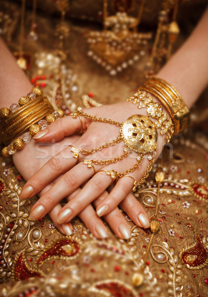 Hands of a bride in a traditional wedding jewelry. Sri Lanka Stock photo © pzaxe