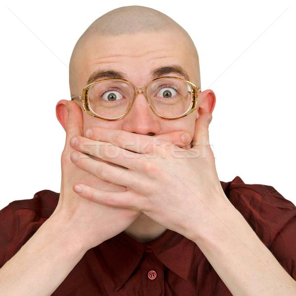 Mann halten zurück Witze junger Mann Auge Stock foto © pzaxe
