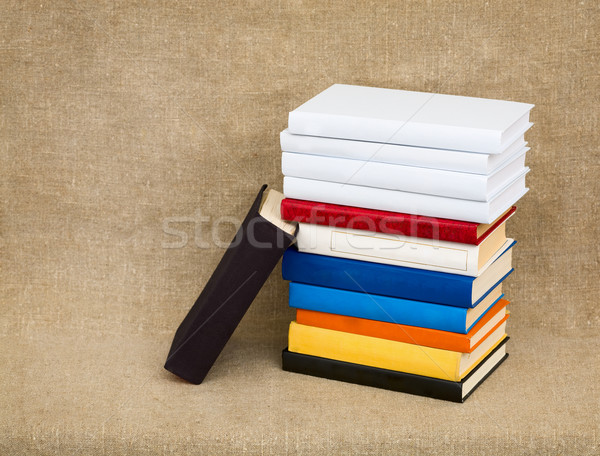 Multicolor books on the fabric background Stock photo © pzaxe