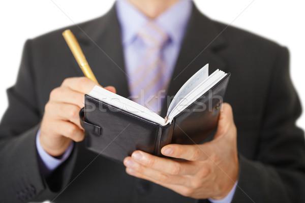 бизнесмен отмечает ноутбук золото пер Сток-фото © pzaxe