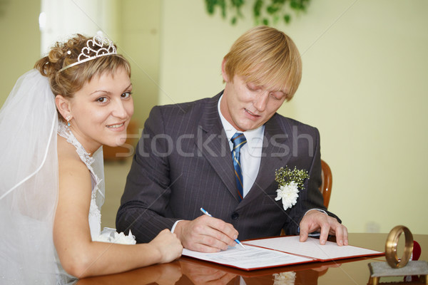 Registration of marriage. Happy newlyweds. Stock photo © pzaxe
