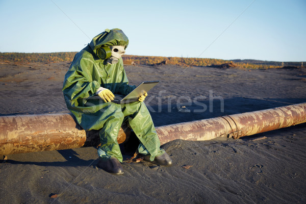 Environmental scientist in ecological disaster zone Stock photo © pzaxe