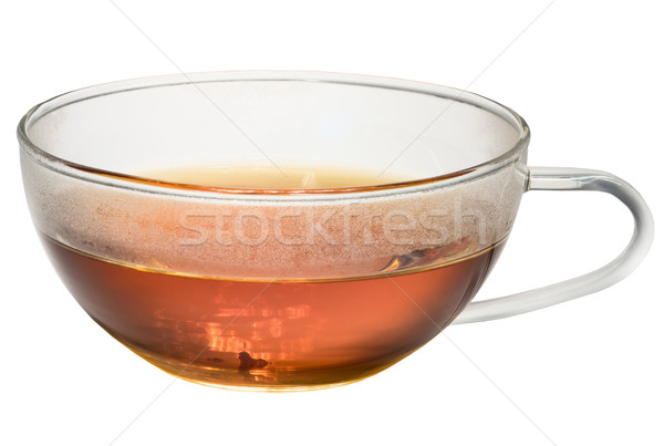 Transparent glass cup with tea on white background Stock photo © pzaxe
