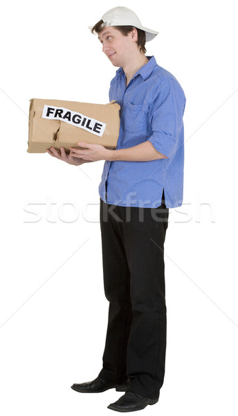 Man hold cardboard box with discription 'fragile' Stock photo © pzaxe