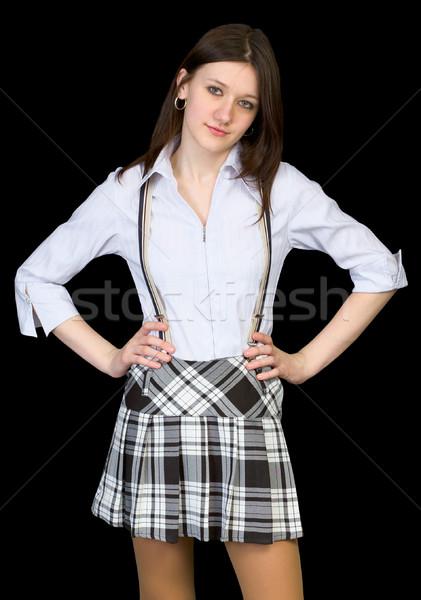美 白 シャツ スカート 黒 女性 ストックフォト © pzaxe