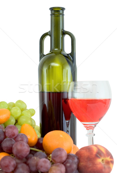 Bright still life with wine and fruit Stock photo © pzaxe