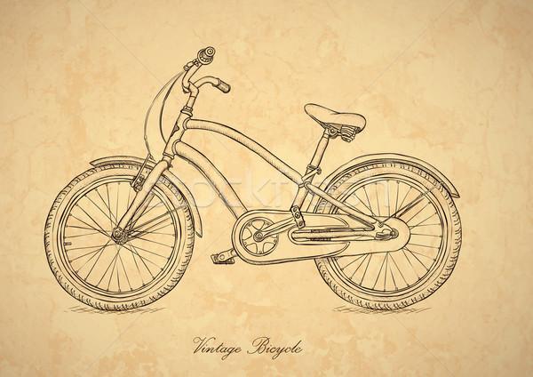 Bağbozumu bisiklet vektör retro tarzı kâğıt sanat Stok fotoğraf © pzaxe
