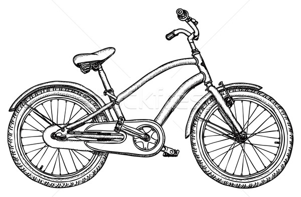 Old bicycle - vector rough drawing Stock photo © pzaxe