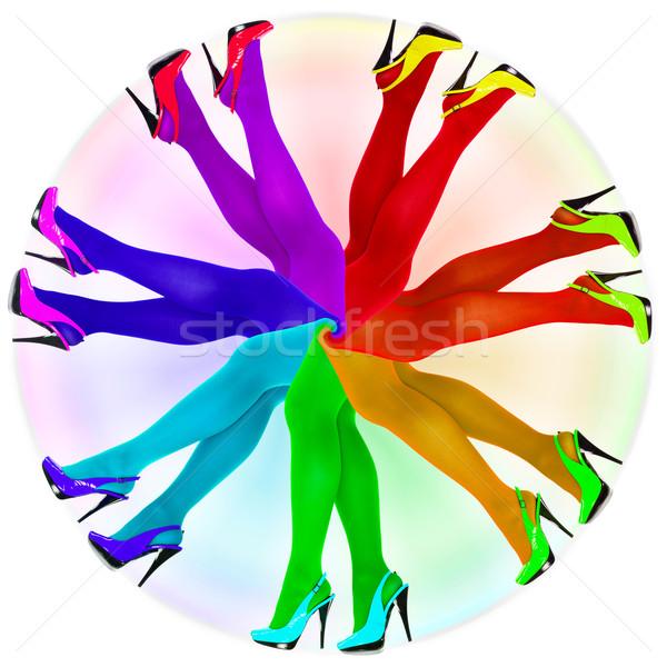 Abstrato meia-calça cores arco-íris mulher Foto stock © pzaxe