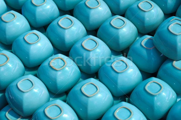 Blue square cups on shelve Stock photo © pzaxe