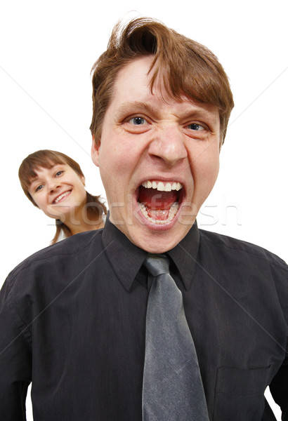 Man in rage and shouted loudly. Woman happy. Stock photo © pzaxe