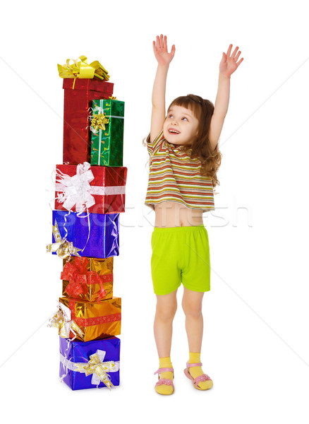 A child enjoys a lot of gifts for his birthday Stock photo © pzaxe