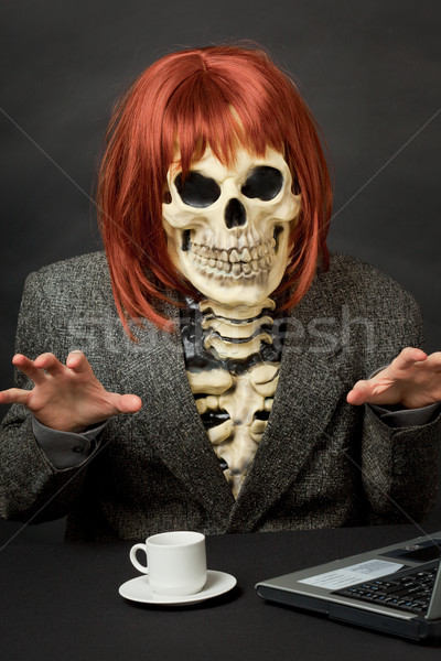 Amusing skeleton with red hair - Halloween Stock photo © pzaxe