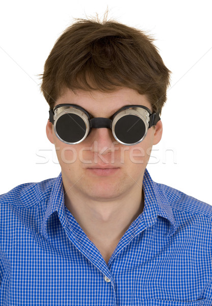 человека сварки темные очки смешные белый фон Сток-фото © pzaxe