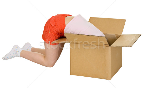 Young girl in cardboard box Stock photo © pzaxe