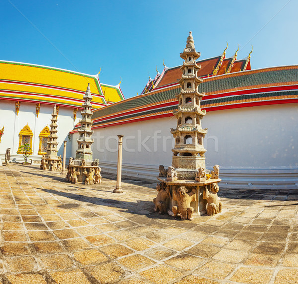 Inner courtyard of a Buddhist temple. Thailand, Bangkok Stock photo © pzaxe