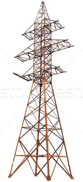 Stali elektryczne słup biały odizolowany Zdjęcia stock © pzaxe