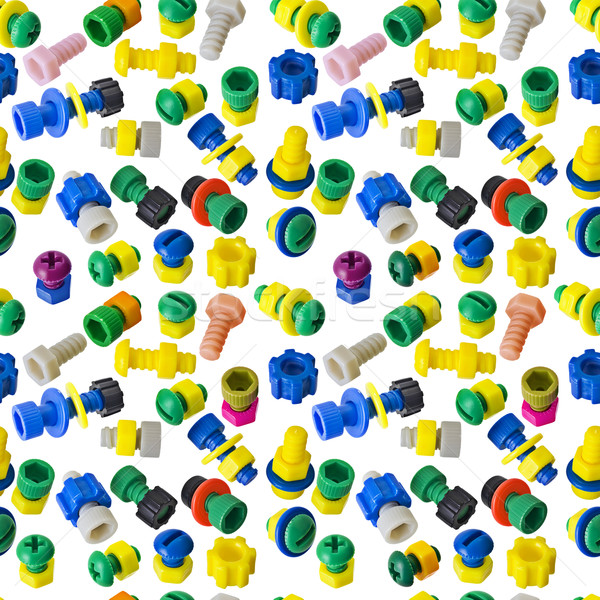 Stock photo: Seamless texture - toy nuts and bolts