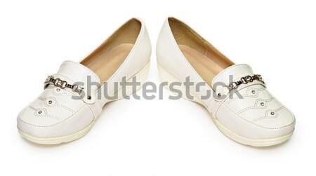 Women's white leather shoes Stock photo © pzaxe