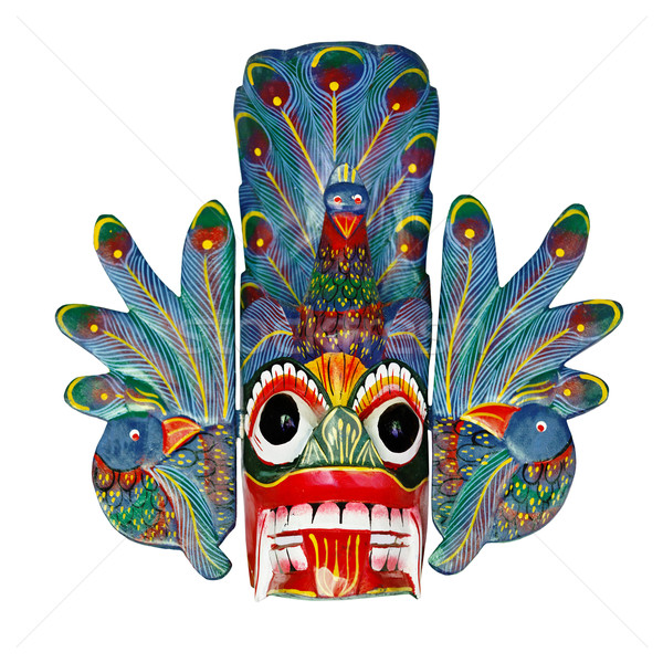 Old colored wooden Sri Lankan mask Stock photo © pzaxe