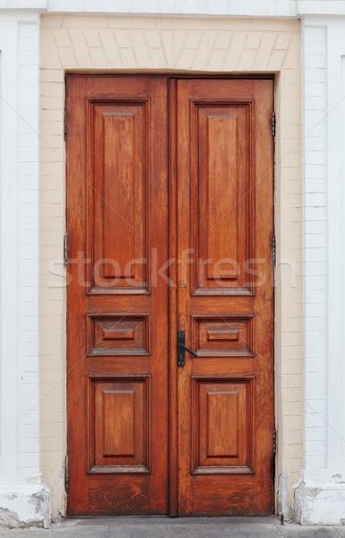 Handmade Wooden Double Door Stock photo © pzaxe
