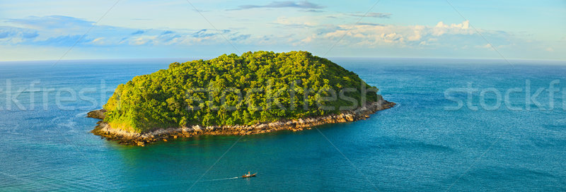 Groot tropisch eiland boom wolken landschap palm Stockfoto © pzaxe