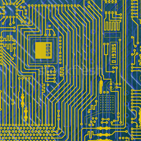 Circuit board electronic golden - blue background Stock photo © pzaxe
