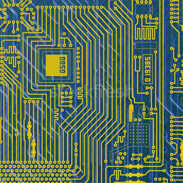 Circuit électronique or bleu carré texture Photo stock © pzaxe