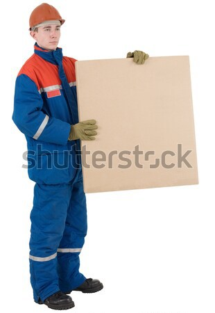 рабочий окна шлема белый человека синий Сток-фото © pzaxe