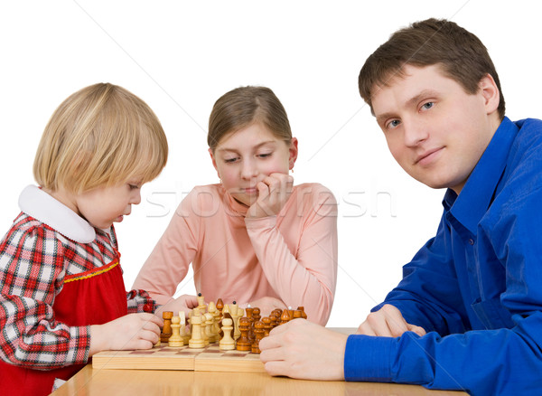 Man and childs play to chess Stock photo © pzaxe